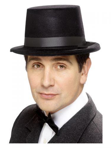 Flocked Topper Hat, Black