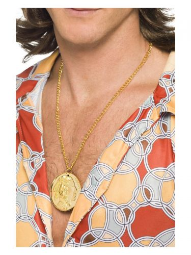 Gold Metal Medallion On Chain, Gold
