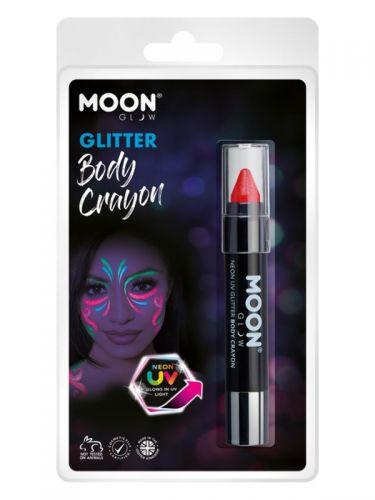 Moon Glow - Neon UV Glitter Body Crayosn, Red